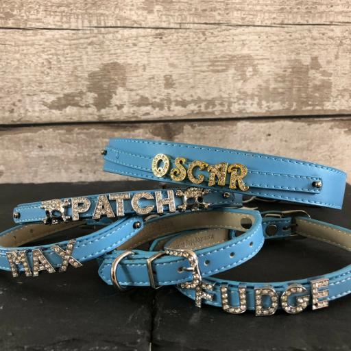 Personalised Blue Leather Collar