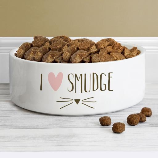 Personalised Medium Cat Features Bowl